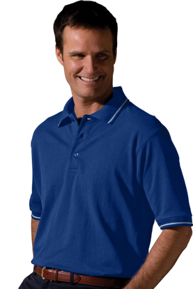 Picture of Men'sTipped collar and cuff soft touch blended pique polo