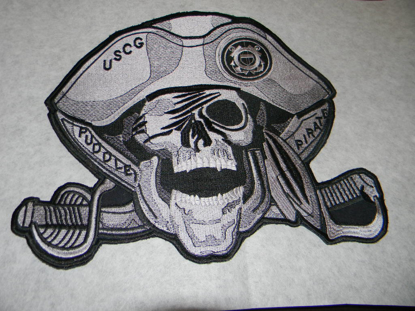 "Picture of 12"" Large Custom Embroidered Pirate Patch - 100% Embroidered"