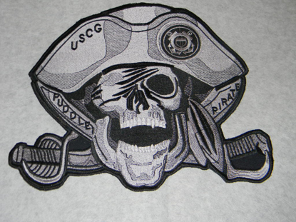 "Picture of 12"" Large Custom Embroidered Pirate Patch - 50% Embroidered"