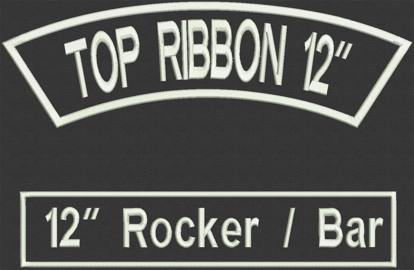"Picture of Custom Embroidered  - 12"" x 2.5"" for Biker Top Rocker and Straight Bottom Rocker"