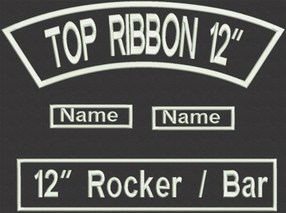 "Picture of Custom Embroidered  - 12"" x 2.5"" for Biker Top Rocker and Straight Bottom Rocker with 2 names"