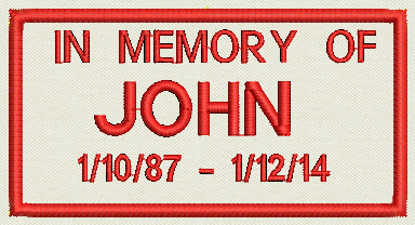 "Picture of Custom Embroidered Patch 3.75"" x 2"" - In Memory of"