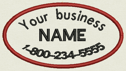 "Picture of Oval Custom Embroidered Business Name Tag, Patch, badge -  4.5"" x 2.5"""